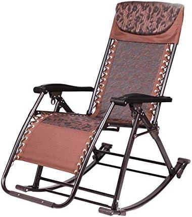 太陽のラウンジャー、重い人のためにリクライニングの特大のパティオロッキングチェアサンラウンジャー無重力椅子アウトドアキャンプ折りたたみ式ポータブルチェアブラウン(色:クッションなし)