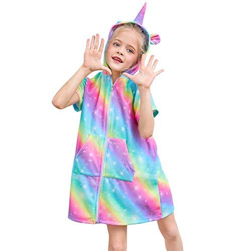 Beinou Terry Swim Cover Up Girls Rainbow Unicorn