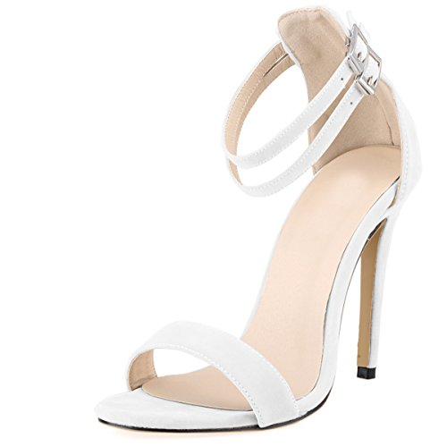 Eastlion Women's Suede Stiletto Heel Shoes Sandals Peep Toe Pumps Court Shoes,35-42 White
