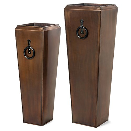 H Potter Tall Planter Antique Copper Patio Deck Indoor Outdoor Garden Flower Planters - Set of Two