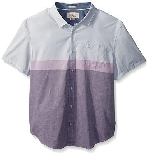 Original Penguin Men's Short Sleeve Colorblock Lawn Shirt, Mysterioso, (Cotton Lawn Short Sleeve Shirts)