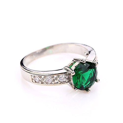 Promise Rings/ZM Size 6,7,8 Jewelry Woman's Green Emerald Stone 18kt White Gold Filled Ring Gift Six Claw Crown (7)