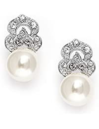 Clip On Pearl Bridal Earrings with Art Deco Vintage Wedding Style - Cream Pearls & Pave CZ Accent