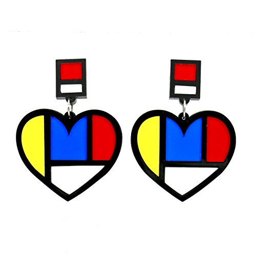 COMELYJEWEL Fashion Jewelry Acrylic 80s Girls Charm Standout Stud Drop Earrings For Women (Geo Heart)