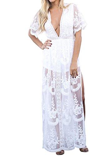 Eleter Women's Deep V-Neck Lace Romper Short Sleeve Long Dress (S, White)