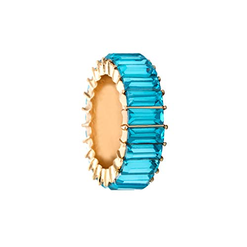 Tuscom Rainbow Statement Ring Cubic Zirconia Opal Stackable Ring Eternity Wide Band Ring Cocktail Ring Celebrity Ring Exquisite Creative Geometric Rainbow Stone Wedding Jewelry Gift (Sky Blue)