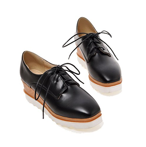 Odomolor Women's PU Solid Lace-up Square-Toe Kitten-Heels Pumps-Shoes, Black, 37