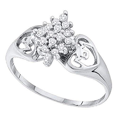 (Roy Rose Jewelry 14K White Gold Womens Round Prong-set Diamond Cluster Heart Mom Ring 1/6-Carat tw)