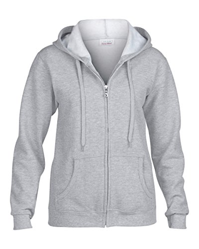 Grey Zip Hoodie (Gildan Activewear Heavy Blend Ladies' Full-Zip Hooded Sweatshirt, L, Sport Grey)