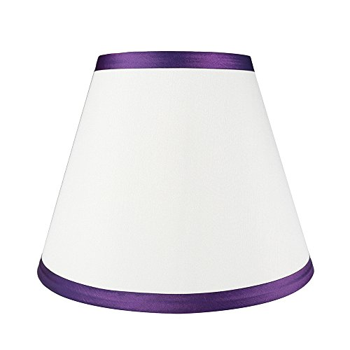 (Urbanest Coolie Hardback Lampshade, Faux Silk, 5-inch by 9-inch by 7-inch, Off White with Purple Trim, Spider Washer Fitter)