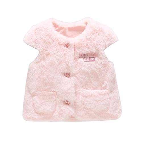 Anbaby Baby Girl's Vest Pink Winter Warm Outerwear Waistcoat (Size-66/6-9M) by Anbaby