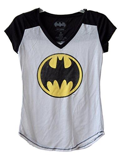 Batman+Shirts Products : DC Comics Batman Distressed Logo Juniors V-neck T-shirt