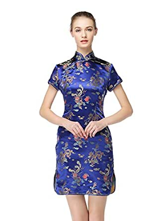Bitablue Womens Knee-Length Chinese Dragon and Phoenix Brocade Dress (10) Navy Blue