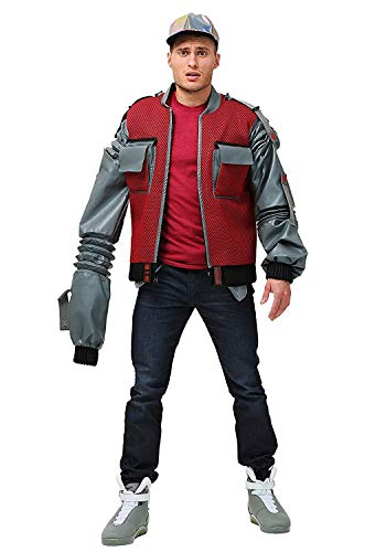 Back to The Future Part 2 McFly Michael J. Fox Grey Leather Sleeves Red Future Marty Bomber Jacket 2XS to 3XL (MED-Jacket -