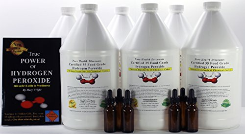 6 Gallons of 35% Food Grade Hydrogen Peroxide. Plus THE 2014 TRUE POWER OF HYDROGEN PEROXIDE, Miracle Path to Wellness. Bonus 6 Amber Dropper bottles. by Pure Health Discounts