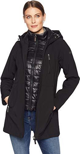 Calvin Klein Women's Softshell Jacket with Packable Bib Insert Black X-Small -