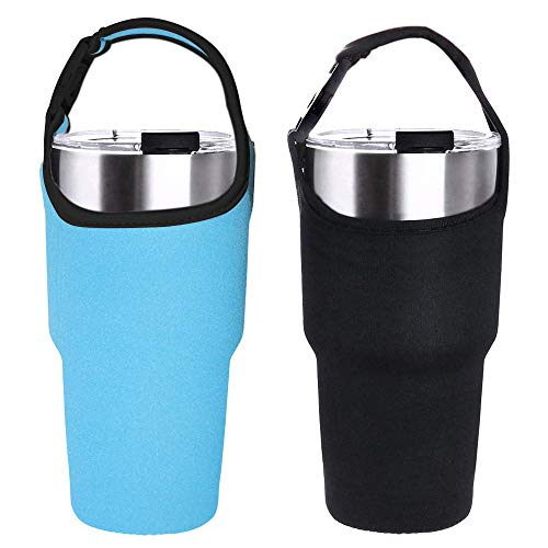 HouseHoo Tumbler Carrier Holder Pouch Insulated Coffee Mug, 2 Pack Insulated Tumbler with Carrier Neoprene Sleeve and Carrying Handle Fit for All 30oz Insulated Tumbler ()