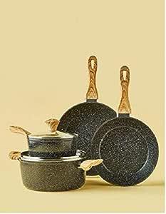 Granite/Marble Coated Aluminium Cookware Set Black 6-Piece
