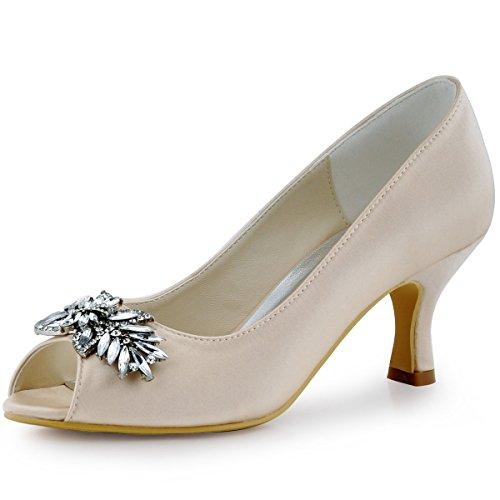 ElegantPark HP1540 Women Pumps Comfort Heel Peep Toe Leaf Rhinestones Satin Evening Prom Wedding Shoes Champagne US 9