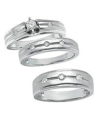 Araska Diamond Trio Set Matching His & Her Engagement Ring Wedding Band 14K White Gold Finish
