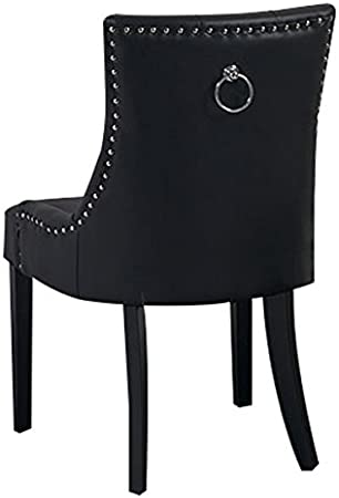 My Furniture Torino in Pelle PU Nera Sedia da Pranzo tappezzata di Alta qualità con Schienale Leggermente concavo, Anello nel Retro, e Gambe con