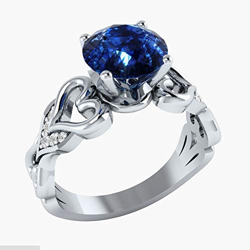 No Blue MGZDH Ladies Eternal Zircon Ring Simple Blue White Zircon Commitment Ring Heart Shaped Ring Silver Plated Ring 10