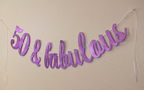 All About Details 50 & Fabulous Cursive Banner, 1set, 50th Birthday, Party Decor, Photo Backdrop (Purple) for $<!--$23.25-->