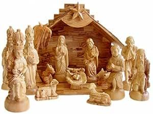 Large olive wood nativity set musical home kitchen - Belen moderno ...