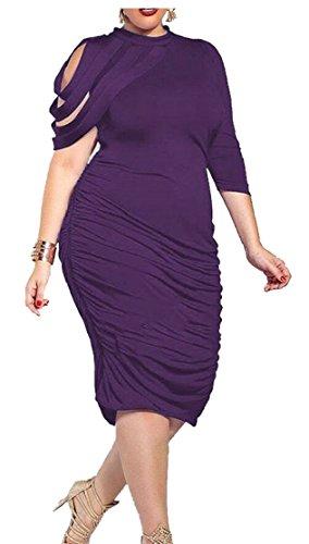 Jaycargogo Femmes Sur La Taille Solide De Couleur Sexy Robe Asymétrique Xs Violet
