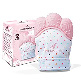 Noa Store Teething Mittens for Baby Set of 2- Infant Teething, Baby Glove Teether Toys for Boys & Girls (Pink)