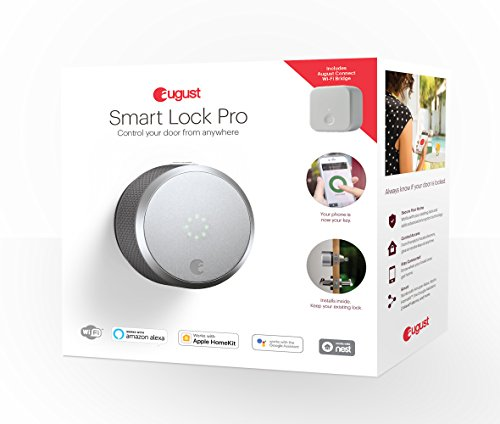 August Smart Lock Pro + Connect Wi-Fi Bridge, 3rd gen technology - Silver, works with Alexa, HomeKit & Zwave.