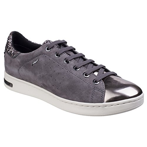 Cheap Geox Womens/Ladies Jaysen Metallic Flat Sneakers (8 US) (Dark Gray)