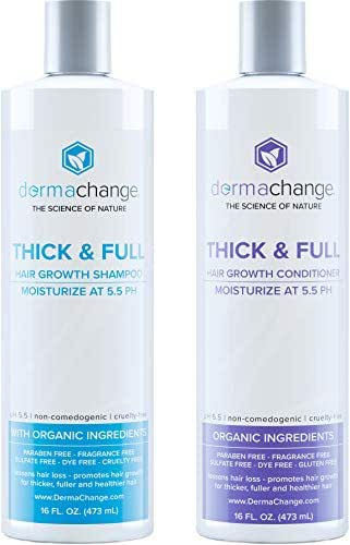 Natural Hair Growth Shampoo and Conditioner Set - Sulfate Free, Vegan, Thicker Hair Regrowth with Vitamins - Hair Loss & Thinning Products - Curly or Color Treated Hair - For Men and Women - (16oz)