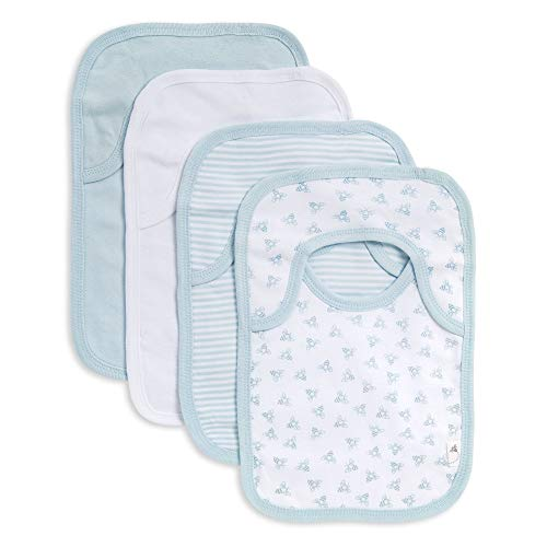 (Burt's Bees Baby - Bibs, 4-Pack Lap-Shoulder Drool Cloths, 100% Organic Cotton with Absorbent Terry Towel Backing (Sky Blue))