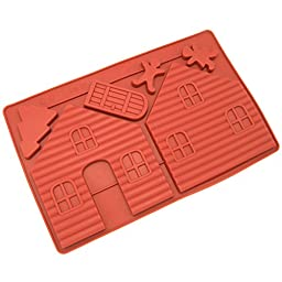 Freshware CB-700RD Silicone Gingerbread and Chocolate House Mold - 2 pcs