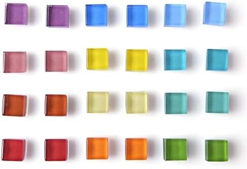Office Magnets Kitchen Magnets Refrigerator Magnets Fridge Magnets for Whiteboard Magnets for Dry Erase Board Multicolor Square Glass Colorful Cute Fun Decoration (Glass)