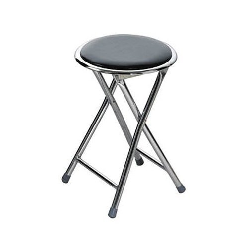 (4 x ROUND FOLDING STOOL With Chrome LEGS by PRIME FURNISHING)