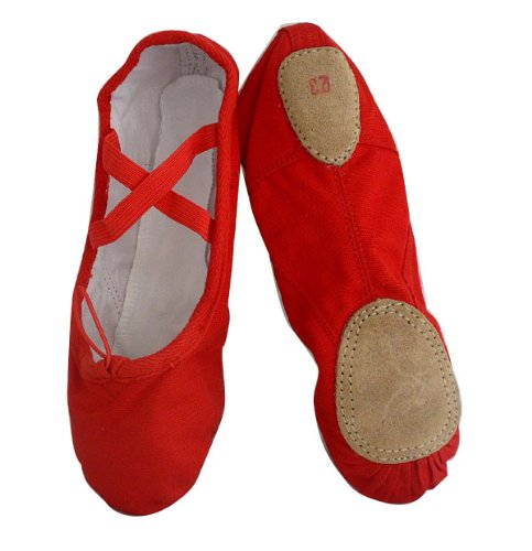 Amazon.com | Girls Red Canvas split-sole Ballet Slippers | Dance