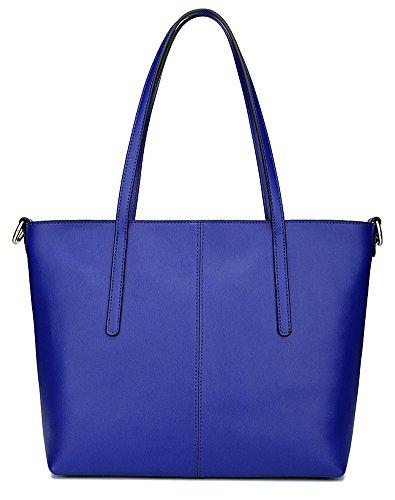 High Fashion Tote Handbag (Ilishop High Quality Women's New Fashion Handbag Genuine Leather Shoulder Bags Tote Bags Hot Sale (Blue-small))