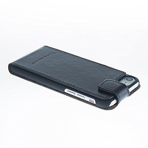 iPhone 7Lederhülle–Flip Case, Rustikal Schwarz