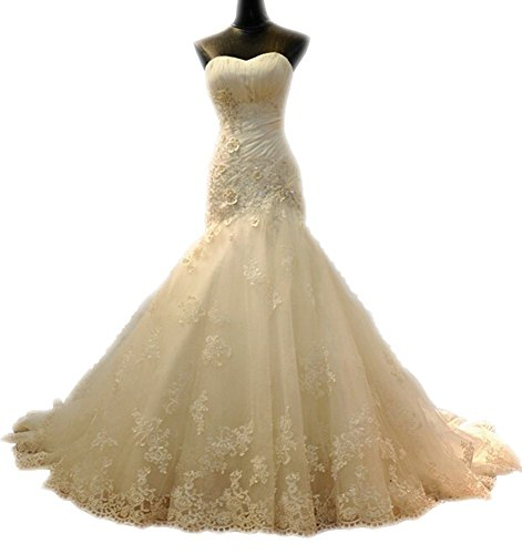 Snowskite Womens Sweetheat Mermaid Lace Wedding Bridal Dress 0 White