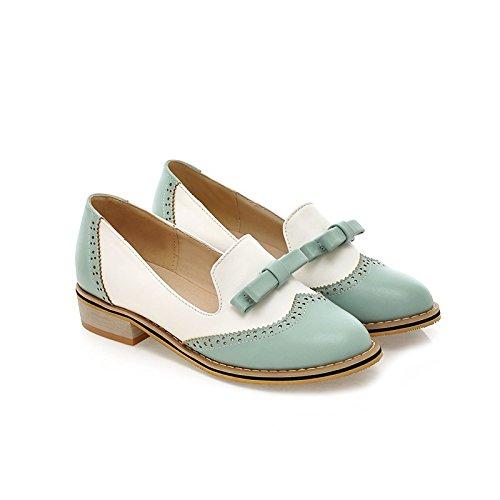 ZHZNVX Zapatos de Mujer Otoño Nuevo Collar de la Escuela Arco Redondo Tacones Bajos Color a Juego Pies Sandalias Planas, Azul, 39