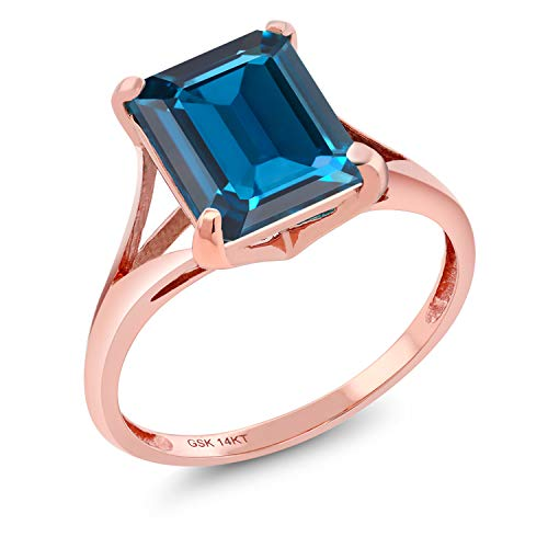 Gem Stone King 14K Rose Gold London Blue Topaz Women's Solitaire Ring 4.00 Ct Emerald Cut (Size 9)