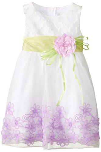 Rare Editions Little Girls' Floral Soutach Border Social Dress, White/Lavender, 6