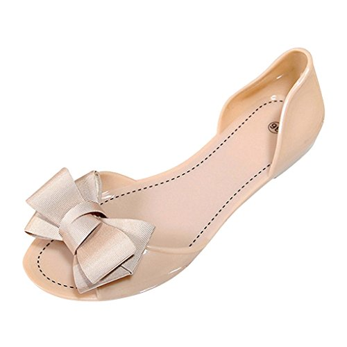 Caro Tempo Donne Bowknot Peep Toe Pvc Slip On Jelly Shoes Beige