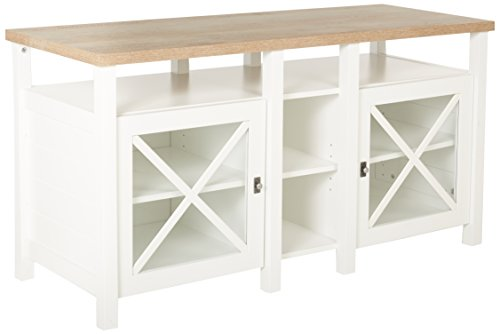 Sauder Cottage Road Entertainment Credenza, Soft White Finish - Glass Oak Sideboard