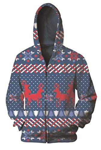 (RingBongMen Digital Print Full-Zip Christmas Theme Couple Cardi Hoodies Sweater Pullover AS2 2XL)