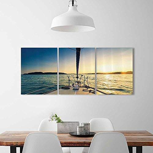 3 Panel Wall Art Set Frameless Nose of Yacht Sailing in the Sea SunDistant Hills Seaside Sun Reflectis for the kitchen, dining room, living room, bar and so on W20