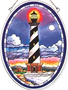 Amia Hand Painted Glass Suncatcher With Cape Hatteras Lighthouse Design, 5-1/4-inch By 7-inch Oval