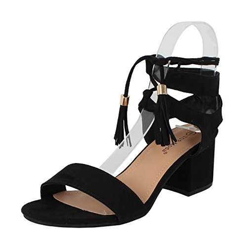 Gladiator Flat Sandals Heel - TOP Moda Women's Tassel Stacked Block Heel Gladiator Sandal (8.5 B(M) US, Black)